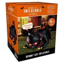 Load image into Gallery viewer, Halloween Animated Red Eye Witch's Cat Inflatable (6 ft)