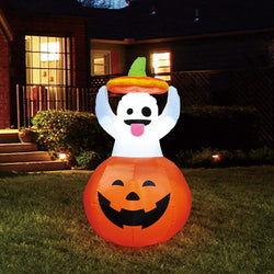 Tall Ghost in Pumpkin Inflatable (5 ft)