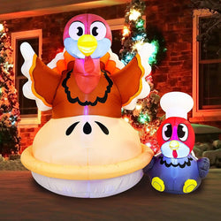 Large Turkey on a Pumpkin Pie Inflatable (6 ft)