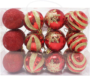 24 Pcs Christmas Ball Ornaments, Red and Gold