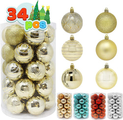 34 Pcs Christmas Ball Ornaments (Gold)