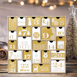 Wooden Advent Calendar with 24 Drawers