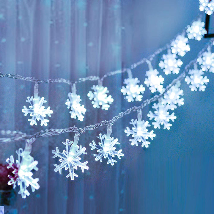 16ft 40 LED Snowflake Fairy Lights, White