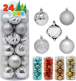 24 Pcs Christmas Ball Ornaments (Silver)