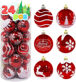 24 Pcs Christmas Ball Ornaments, Red and White