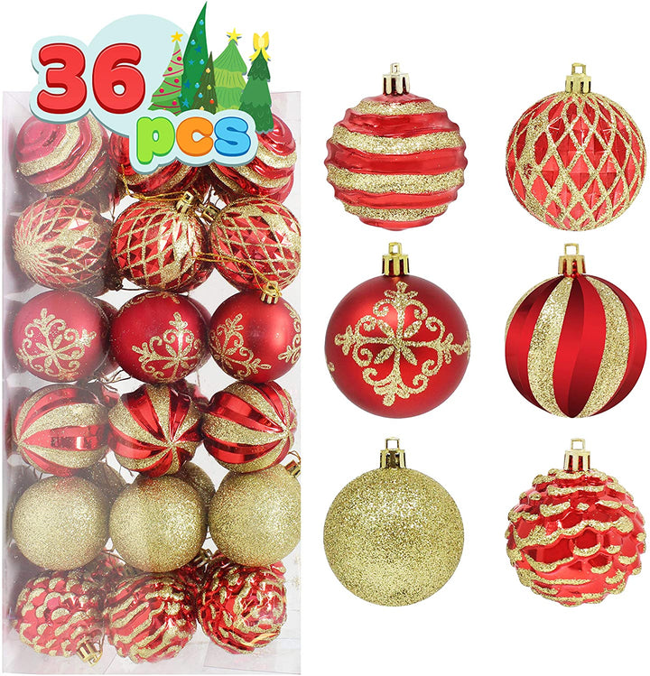 36 pieces Red and Gold Christmas Ornaments