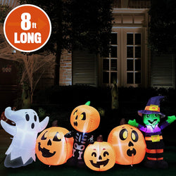 Jumbo Three Halloween Characters and Pumpkin Patch Inflatable (8 ft)