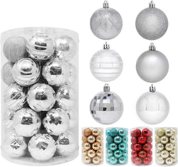 34 Pcs Christmas Ball Ornaments (Silver)