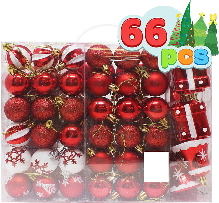 66 Pcs Red and White Christmas Assorted Ornaments