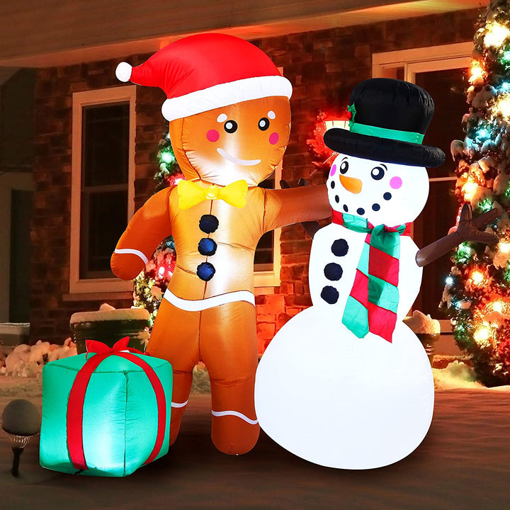 Large Happy Friendship Gingerbread Man & Snowman Inflatable (6 ft)
