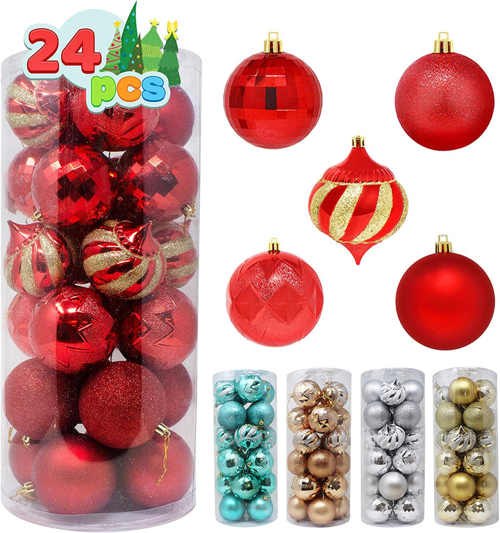 24 Pcs Christmas Ball Ornaments (Red)
