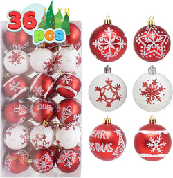 36 Pcs Christmas Ball Ornaments, Red and White
