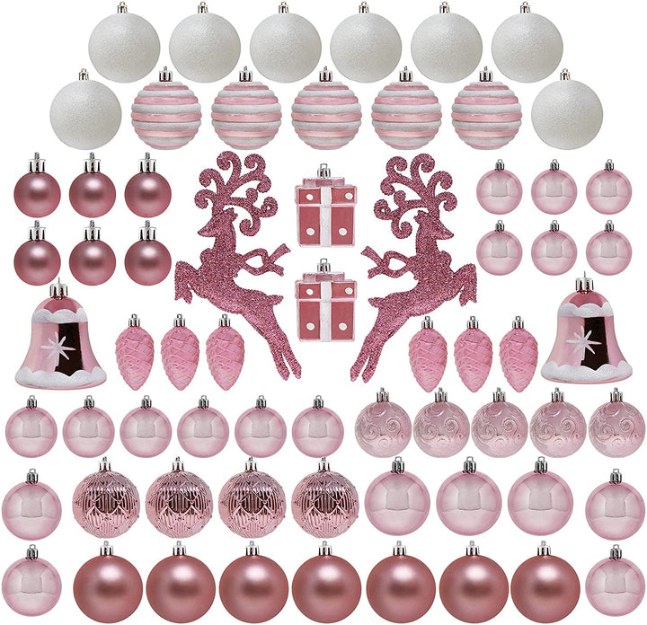 66 Pcs Rose Gold Christmas Assorted Ornaments