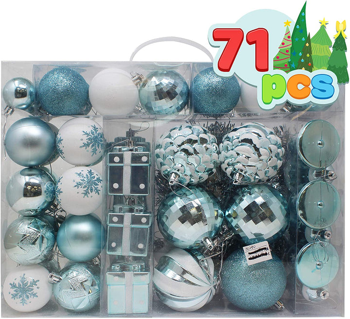 71 Pcs Assorted Ornaments, Blue and White
