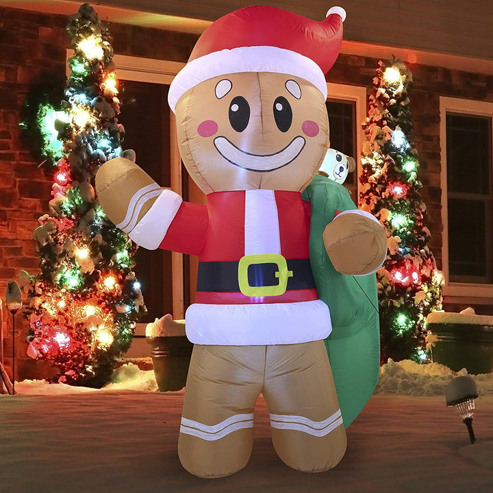 Large Santa Helper Gingerbread Man Inflatable (6 ft)