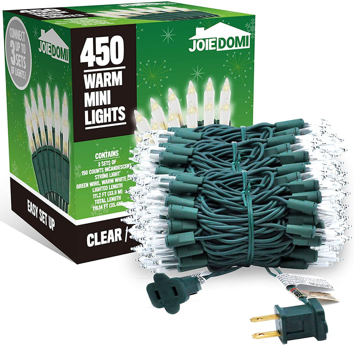 150 Counts Clear Green Wire Christmas Light Set of 3