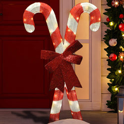 2.78ft Tinsel Candy Canes LED Yard Light