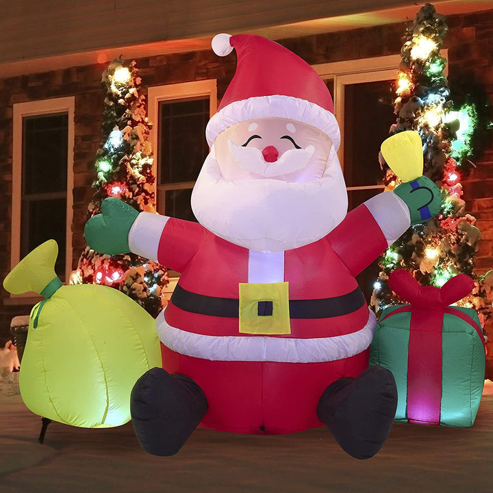 Large Santa Claus with Gift Bag Inflatable (7 ft)