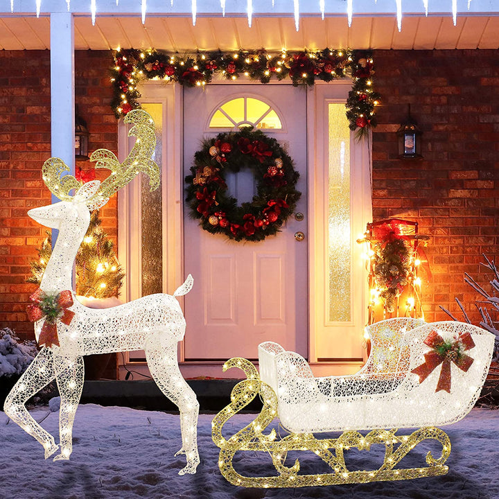 Fabric Reindeer with Sleigh LED Yard Lights