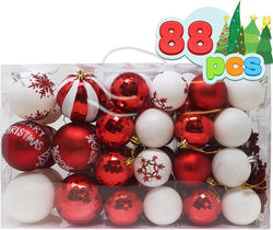 88 Pcs Christmas Ornaments, Red and White