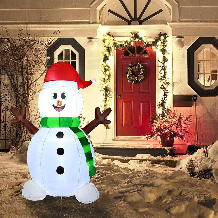 Tall Holiday Snowman Inflatable (5 ft)