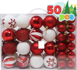 50 Pcs Christmas Ornaments, Red and White