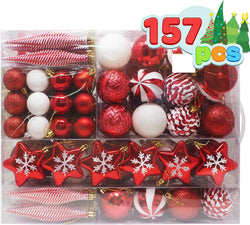 157 Pcs Red and White Christmas Ornaments