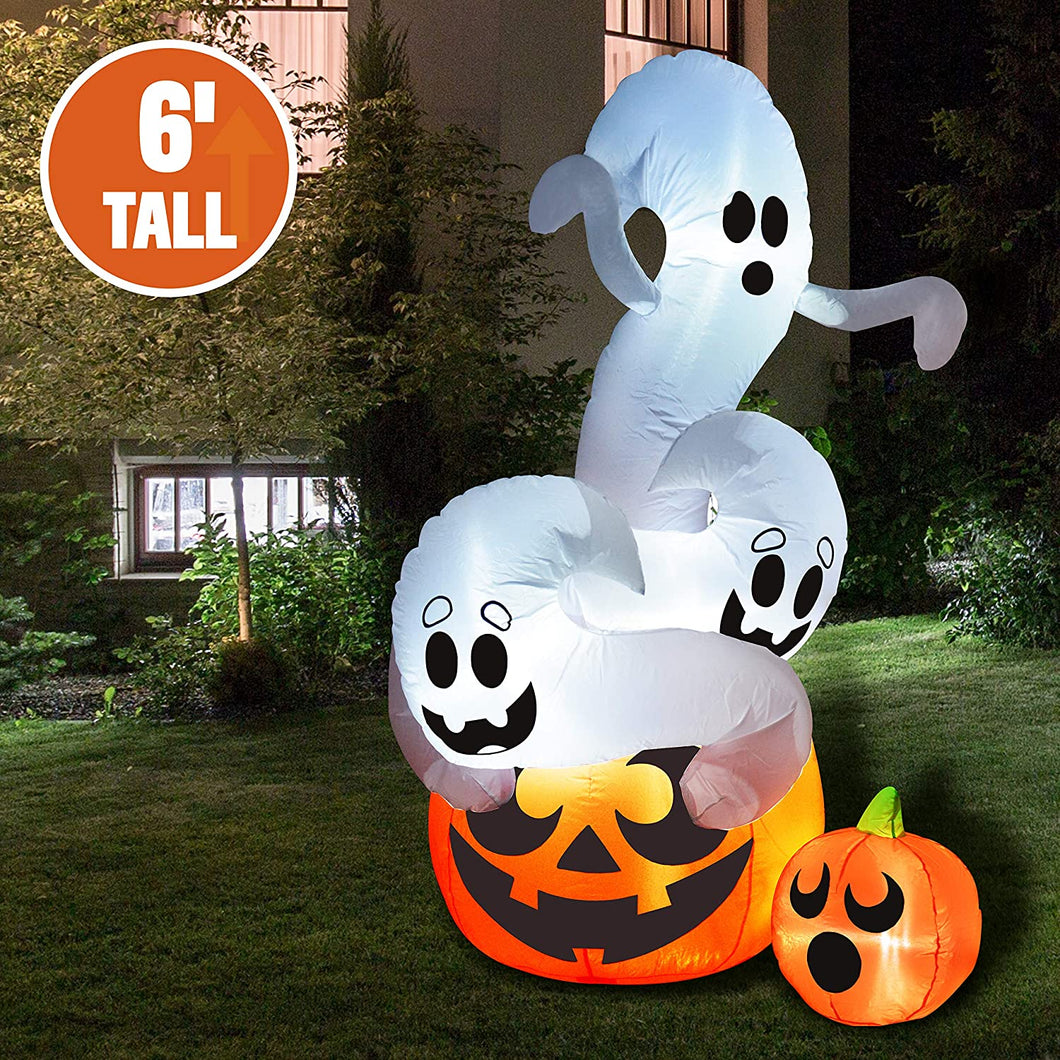 Large Twisting Ghosts On A Pumpkin Inflatable (6 ft)