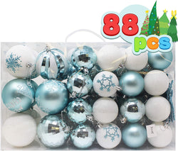 88 Pcs Christmas Ornaments, Blue and White