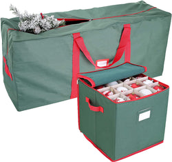 "48"" Christmas Tree Storage Bag and 64-Slot Ornament Storage Set (Green)"