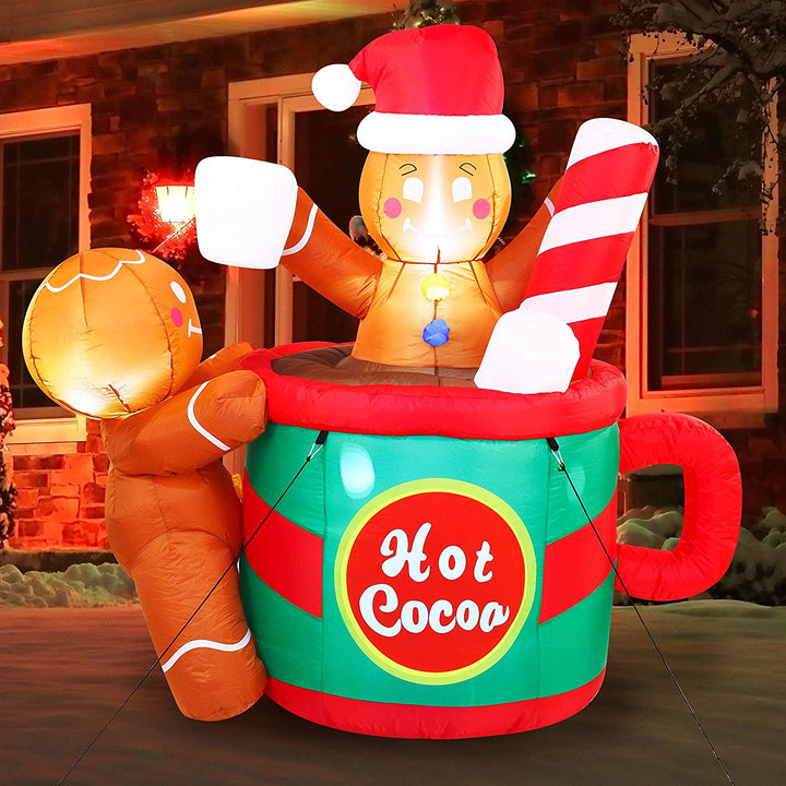 Large Gingerbread Man in Hot Cocoa Mug Inflatable (6 ft)