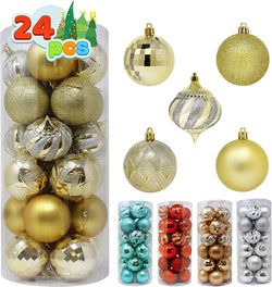 24 Pcs Christmas Ball Ornaments (Gold)