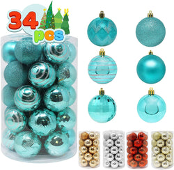 34 Pcs Christmas Ball Ornaments (Teal)