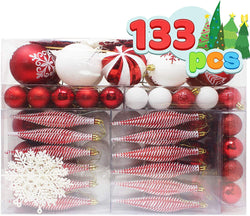 133 Pcs Christmas Ornaments, Red and White