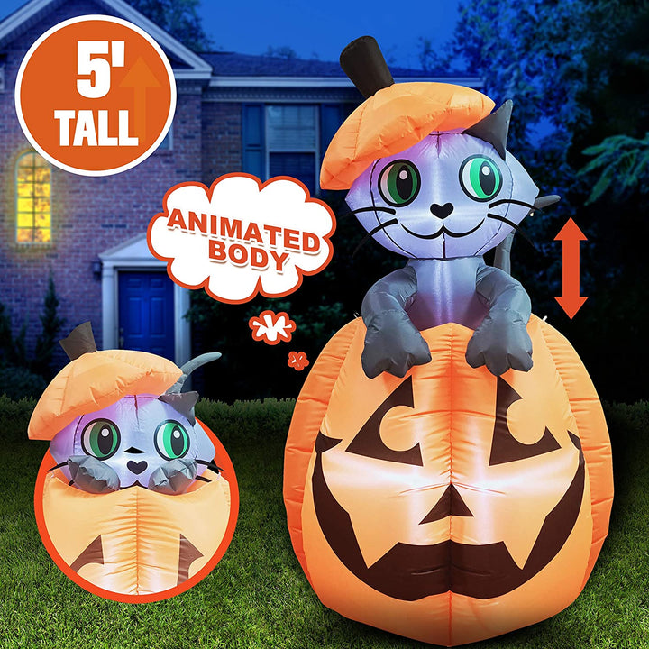Tall Animated Kitty Cat On Pumpkin Inflatable (5 ft)