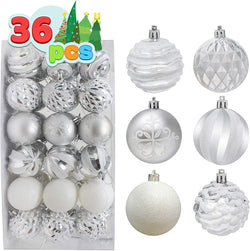 36 pieces Silver and White Christmas Ornaments