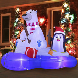 Large Polar Bear Fishing with Penguin Inflatable (6 ft)