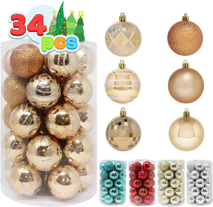 34 Pcs Christmas Ball Ornaments (Champagne)