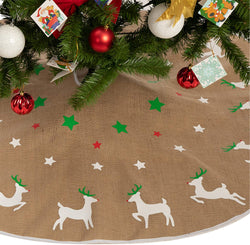 "48"" Burlap Reindeer Tree Skirt"