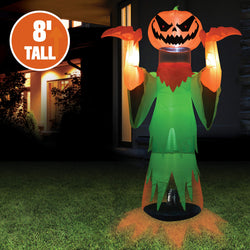 Jumbo Floating Head Pumpkin Wizard Inflatable (8 ft)
