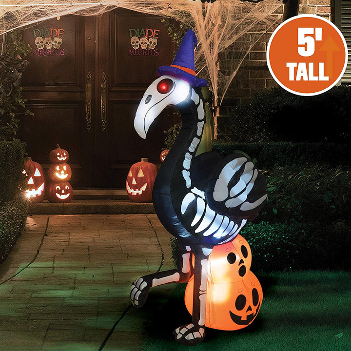 Tall Skeleton Flamingo Inflatable (5 ft)