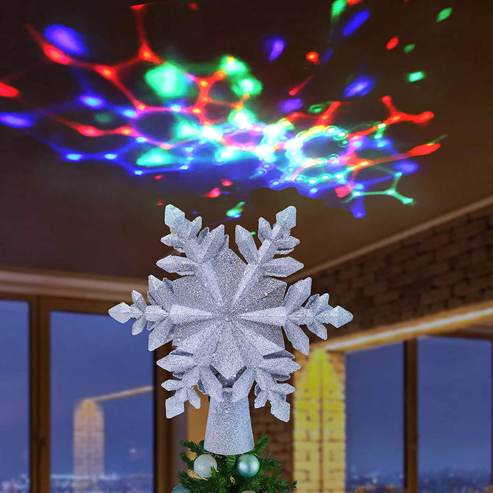 Glitter Silver Snowflake Tree Toppers with Rainbow Projector Lights