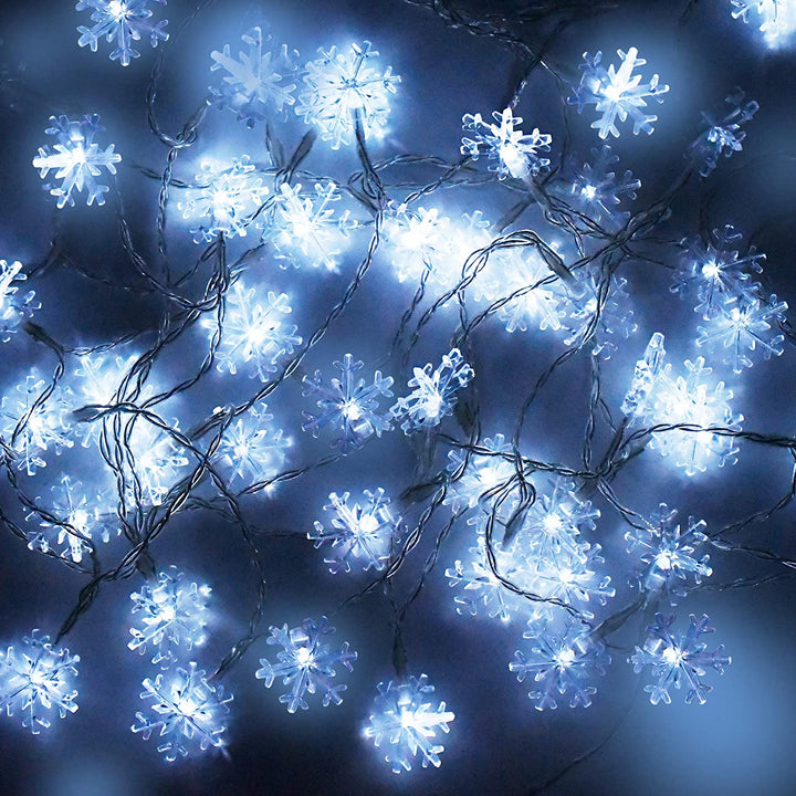 50-Count LED Cool White Snowflake String Lights