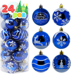 24 Pcs Christmas Ball Ornaments, Blue and White