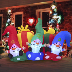 Large Christmas Three Happy Gnomes Inflatable (6 ft)