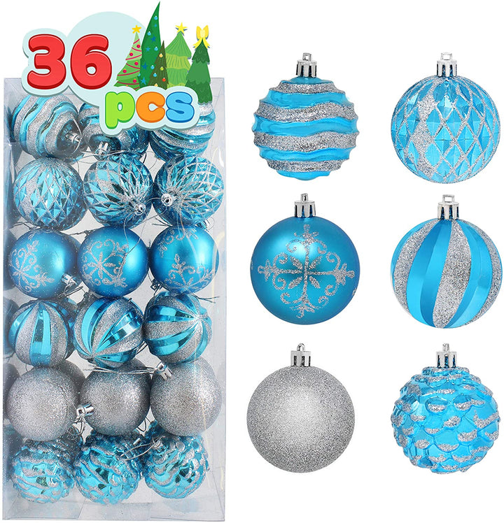 36 pieces Blue and Silver Christmas Ornaments
