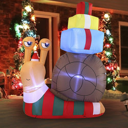 Large Cute Snail with a Stack of Gifts Inflatable (6 ft)