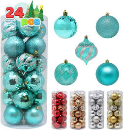 24 Pcs Christmas Ball Ornaments (Teal)