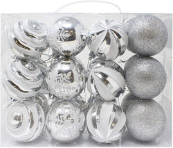 24 Pcs Christmas Ball Ornaments, Silver and White