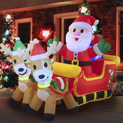 Large Santa Claus on Fancy Sleigh Cute Inflatable (6 ft)
